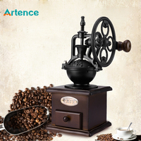 Ferris Wheel Design Vintage Manual Coffee Grinder With Ceramic Movement Retro Wooden Coffee Mill For Home