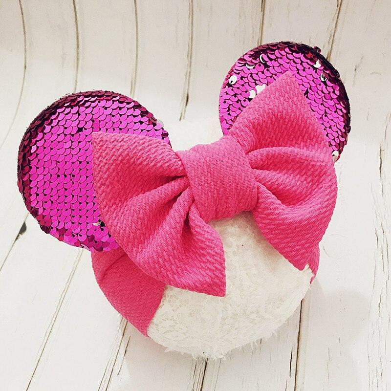 Baby Headband Minnie Ears Baby Girl Headbands Diadema Bebe Recien Nacido Large Nylon Baby Bows Baby Hair Band Turban