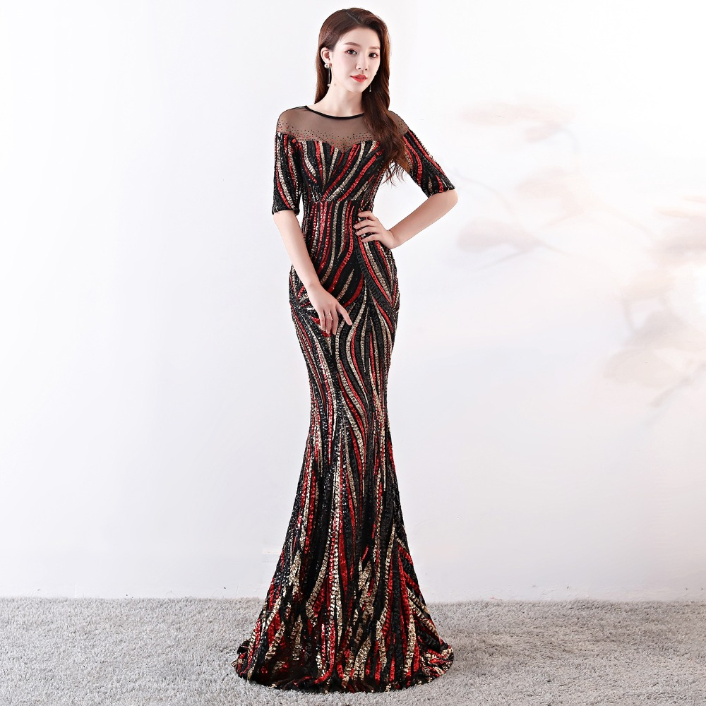 Elegant Crystal Beaded See Through Voile Shor Sleeve Mermaid Long Formal Dresses For Women 2018 Sexy Nightclub Wear Party Dress (2)