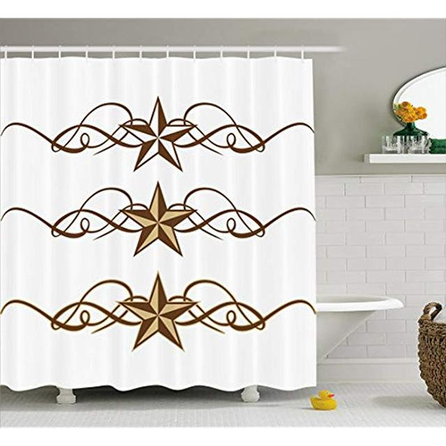 Vixm Primitive Country Decor Shower Curtain Western Stars Scroll Design Ornate Swirls Antique Artistic Fabric Bath Curtains
