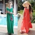 Retail 100% Cotton Kids Girls Long Dresses Summer 2015 Teenage Girls' Sleeveless Beach Dress for Kids with Sashes Green Orange
