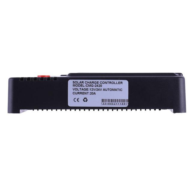 20A Solar Charger Controller 3A 5V USB Output Voltage & DC 12V/24V  LCD Solar Panel Battery Regulator Charging for Lighting