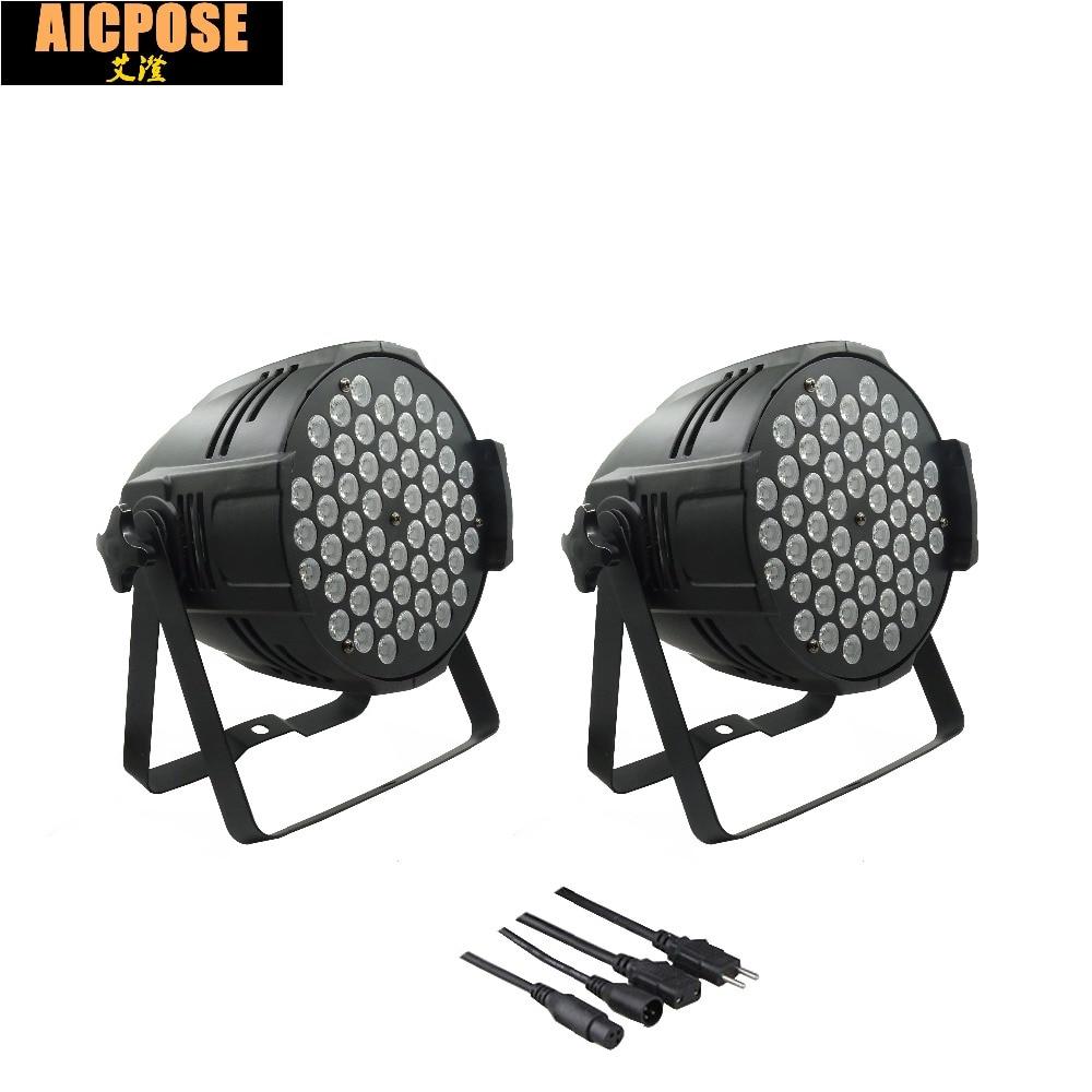 2pcs/lots 54x3w led Par lights RGBW flat par led dmx512 disco lights LED Stage Par Light Wash Dimming Strobe Lighting Effect цена и фото