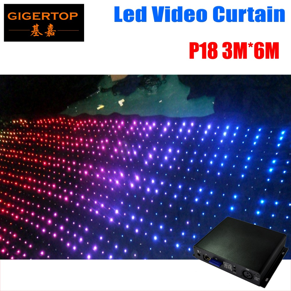 3m*6m Led Video Curtain P18 Wedding Stage Decoration Led Light Stage DJ Booth Cheap DJ Equipment Custom Length Drapes handmade