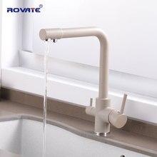 ROVATE очиститель кухня кран с фильтрованной водой двойной ручкой водопроводный кран, холодной и горячей воды смеситель, раковина Черный Медь