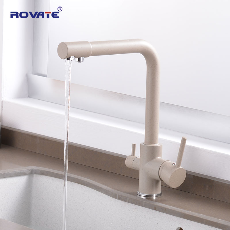 ROVATE purificateur robinet de cuisine avec eau filtrée double poignée robinet d'eau potable, froid et chaud mitigeur évier robinet noir cuivre