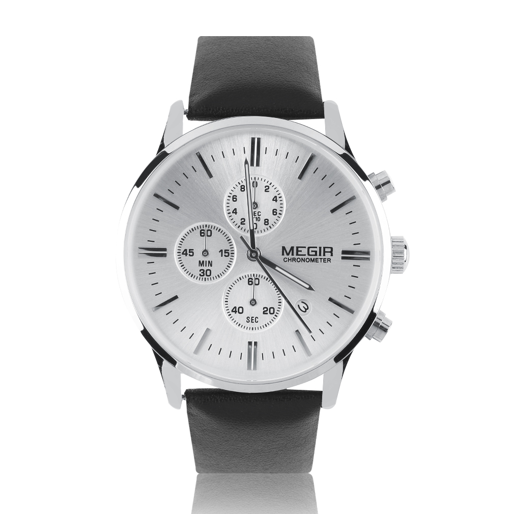 MEGIR ML2011 Luxury Men's Chronograph Sport Leather Band Watch Quartz Analog Date Wristwatch relogio masculino Hot!