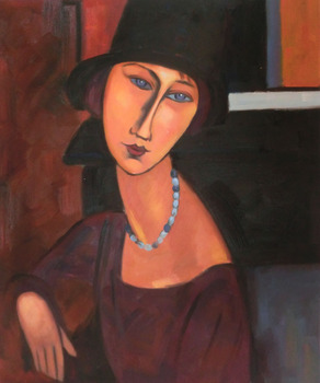 Jeanne Hebuterne with Hat and Necklace Amedeo Modigliani oil painting for sale High quality Portrait painting woman Hand painted image