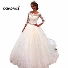 Doragrace vestido de noiva Real Photo Applique Lace A-Line 3/4 Sleeve Tulle Wedding Gowns