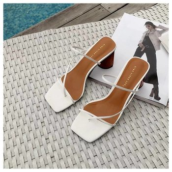 2019 Summer Elegant Women Narrow Band Slides High Heel Slippers Female Peep Toe Wood Block Heel Sandals For Party Shoes Slippers - White, 8.5