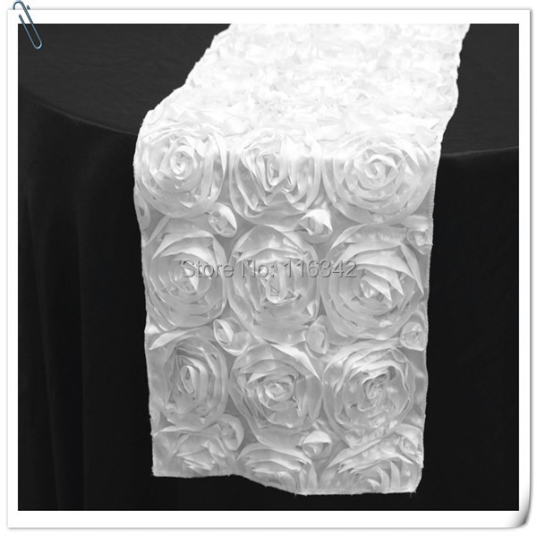 20pcs Top Quality 3D Rosette Embrodiery White Table Runners 30x275cm For  Weddings U0026Party U0026Banquet Decoration FREE