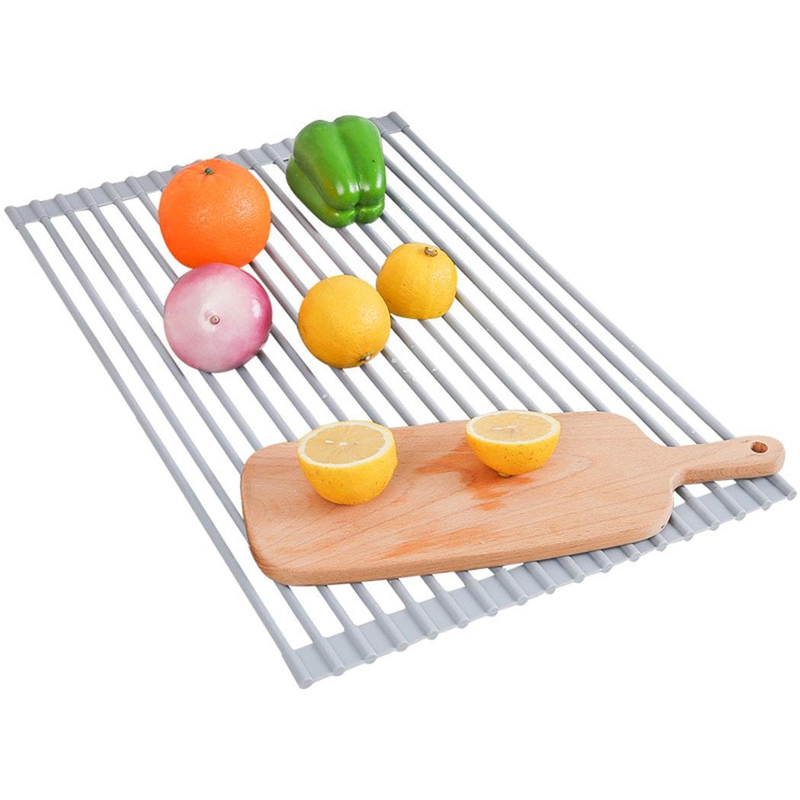 Dish Drying Rack Sink Drying Mat Multipurpose Dish Drainer Fruits and Vegetable Rinser Durable Silicone Covered Stainless SteelDish Drying Rack Sink Drying Mat Multipurpose Dish Drainer Fruits and Vegetable Rinser Durable Silicone Covered Stainless Steel