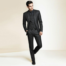 Terno Para Casamento 2016 Custom Made Black Men Slim Fits Suits Tuxedos Grooms Suits Wedding Suits Business Suits
