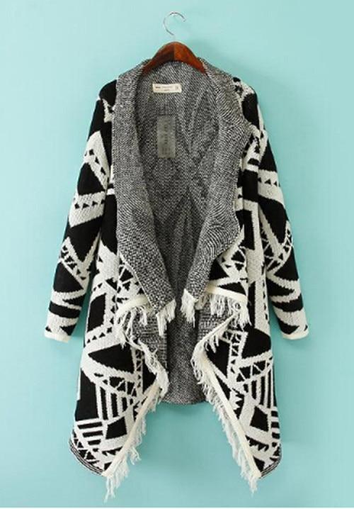 Зимняя женская цветная контрастная Асимметричная хиппи бохо Этническая вязаная кисточка кардиган свитер пальто накидка Топы - Цвет: Белый