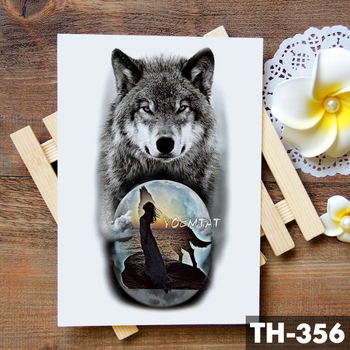 Tribal Wolf Moon Pine Tree Temporary Tattoo Sticker Fox Waterproof Tattoos Forest Body Art Arm Fake Tatoo Men Women 1