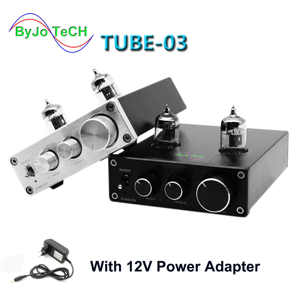 ByJoTeCH TUBE-01 et TUBE-03 Mini Tube Préampli Tube Amplificateur HIFI Préamplificateur Treble Réglage des Basses Avec DC12V plug Power