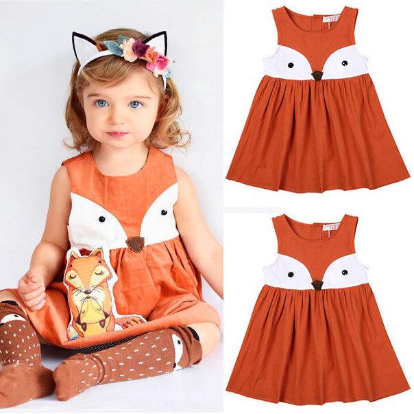 Toddler Kids Baby Girls Sleeveless Orange Cute Cartoon Back Zipper Fox Fancy Dress Princess Party Tulle Tutu Dresses