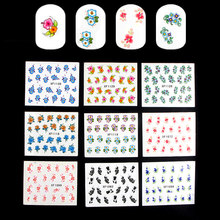 YZWLE 74 Lakens Bloem Veer Kant etc Ontwerp Water Transfer Sticker Nail Art Decals Mode Wraps Tips Manicure Gereedschap(China)