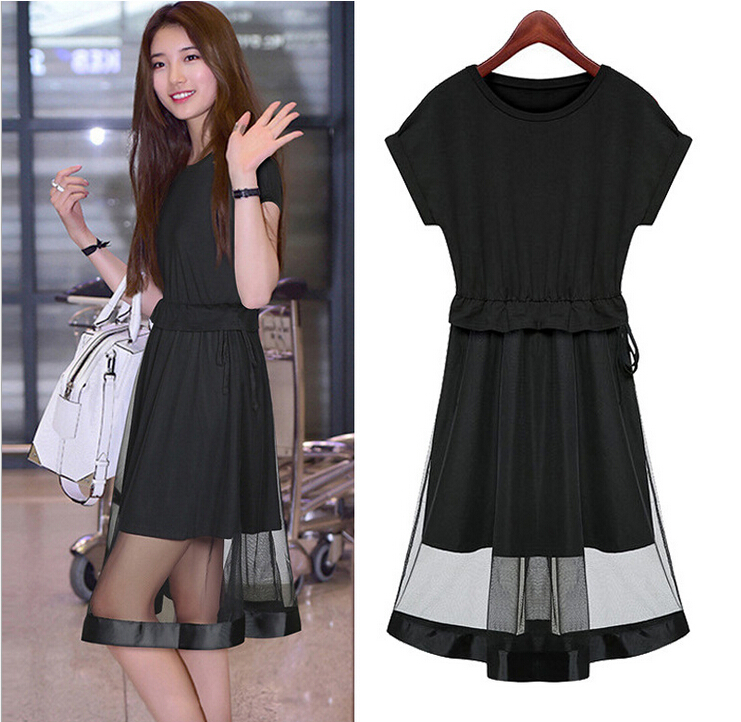 Short Sleeve Elegant Summer Dress Women Ladies O Neck Black Knee ...