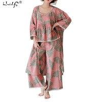 Pijamas New 2017 Women Pajama Sets Cotton Sleepwear Lounge Wear O Neck Floral Three Piece Sets
