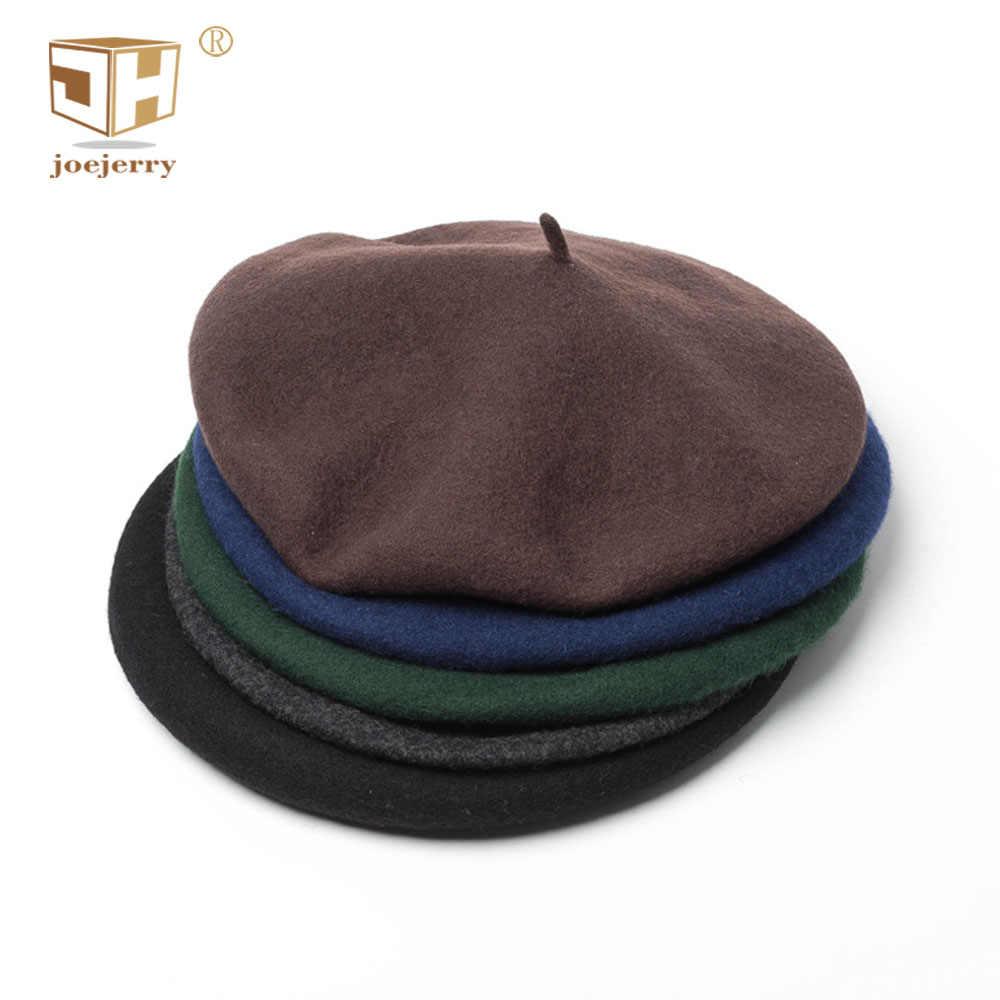 e9f6f5c0a4f26 joejerry 2018 Beret French Hats For Men Winter Wool Beret Painter Hat  Crochet Flat Cap Women