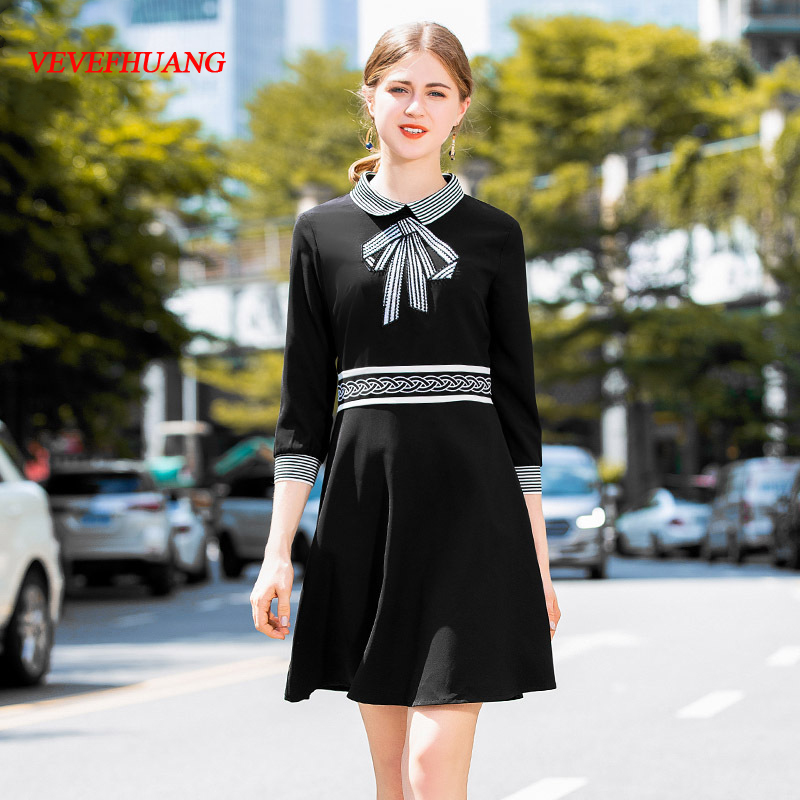 Broderie Black Noir Bref Style Couleur 2018 Casual Dames De Vevefhuang Élégant Marque Blanc Rue Designer Bloc Automne Robe 6w4nTxq