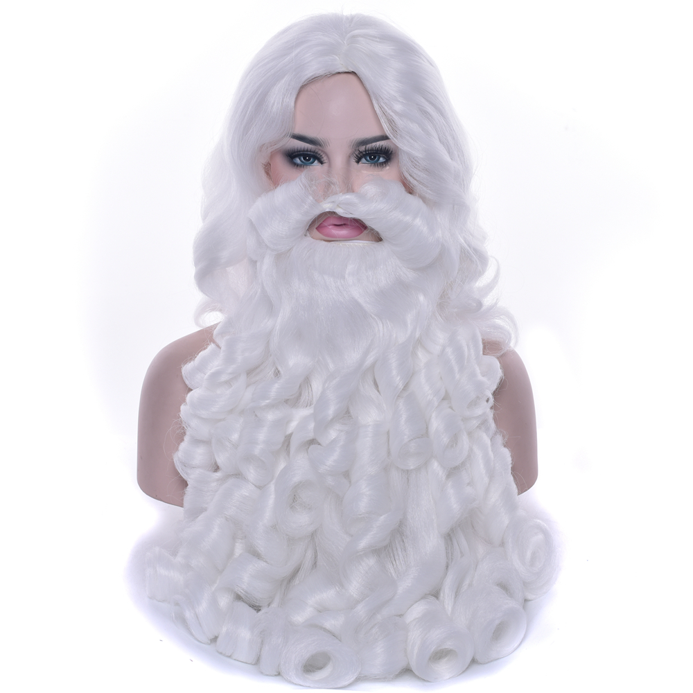Soowee Christmas Costumes Santa Claus Wig and Beard Synthetic Hair Short SantaClaus Cosplay Wigs for Men White Hairpiece