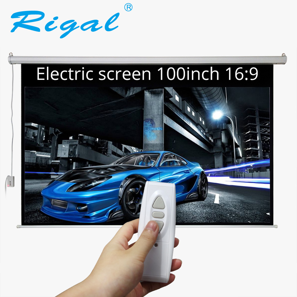 Rigal 100 inch 16:9 Motorized Projector Screen Electric Home Theater Screen 100inch Bar Projection Screen with Remote Control thinyou 84 inch 16 9 electric screen with remote control up down matte white fabric fiber glass curtain hd projector screen