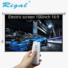Rigal 100 zoll 16:9 Motorisierte Projector Elektrische Heimkino Bildschirm 100 zoll Bar Projektionswand mit Fernbedienung