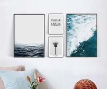 Modern Nordic Sea Flower Ocean Landscape Canvas Art Print Poster Spray Painting for living Room Wall Pictures No Frame