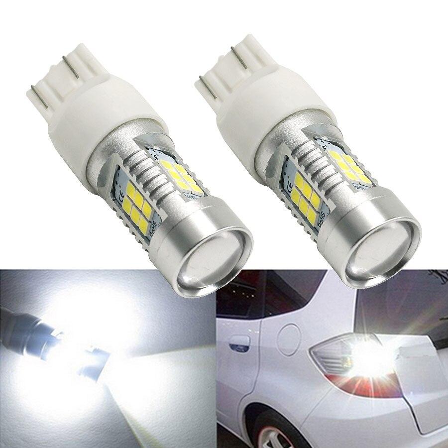2Pcs T20 7443 Pin LED 21 SMD High Power 2835 LED Side Brake Rear Backup Parking Stop Turn Signal Lights Bulb White Free Shipping