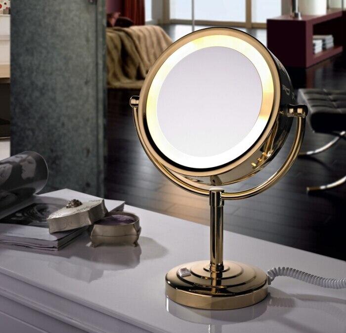 Il trasporto libero Ha Condotto Specchio Cosmetico con la Luce 1/3X in ottone Batteria Specchio Per Il Trucco con la Luce Supporto Da Tavolo Specchio BM005-in Specchi da bagno da Miglioramento della casa su AliExpress - 11.11_Doppio 11Giorno dei single 1