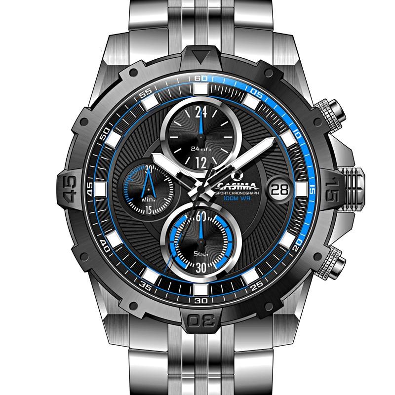 Men Top Brand CASIMA Quartz Wristwatches Fashion Charm Luminous Stainless Steel Strap Clock font b Sport