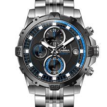 Men Top Brand CASIMA Quartz Wristwatches Fashion Charm Luminous Stainless Steel Strap Clock Sport Military Mens Big Dial Watches