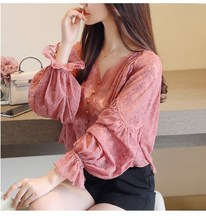 цена на 2019 Summer Women Sexy V Neck Lace Shirt Flare Sleeve Lace Up Blouse Fashion Button Flowers Causal Tops