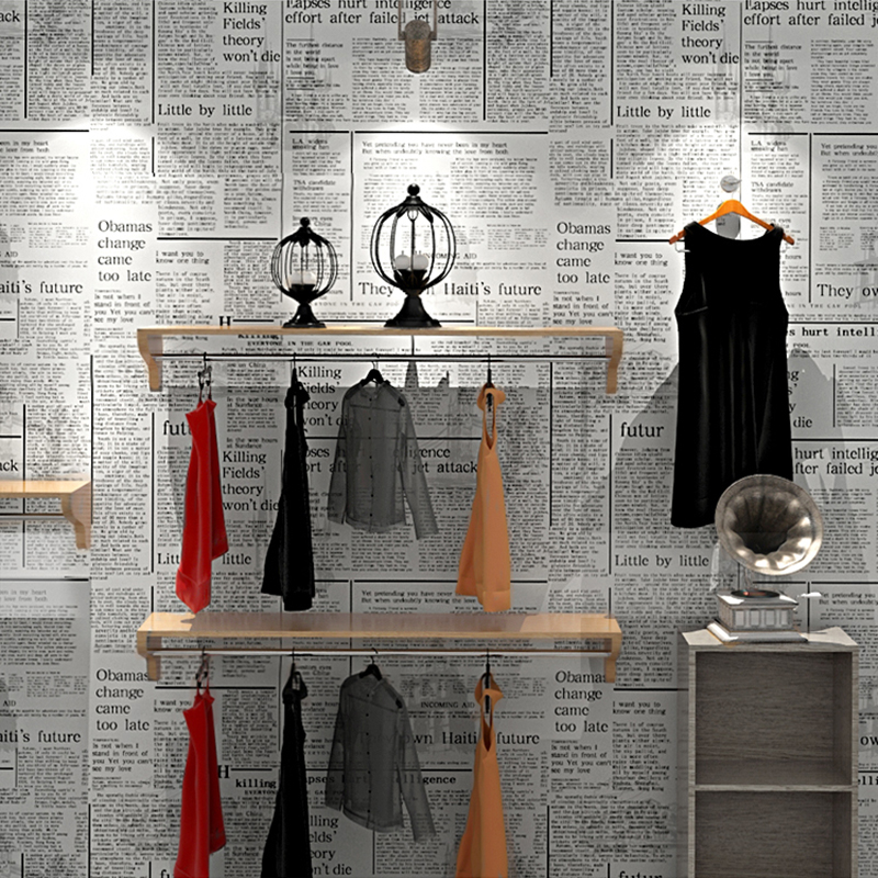 Newspaper Wallpaper English Alphabet Retro Nostalgic Fashion Clothing Store Shop Wall Decor Non-woven Paper Wallpaper Printing free shipping hepburn classic black and white photographs women s clothing store cafe background mural non woven wallpaper