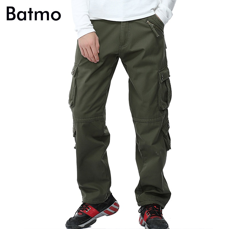 Batmo 2018 new arrival high quality cotton many pockets khaki cargo pants men,mens casual pants 3 color plus-size 28-40