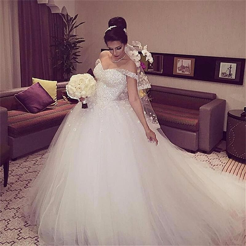 Elegant Princess Wedding Dresses 2019 Sweetheart Backless Ball Gown Beads Tulle Chapel Train Bridal Gowns Vestido De Noiva