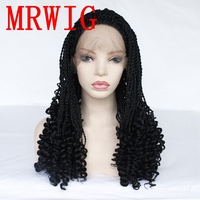 MRWIG 2x Twist Braids Wig 26in 250%density synthetic front lace wig for woman free part 650g black/blonde/brown hair color