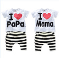 new 2016 boys and baby girls clothing set 100% cotton suit I Love Papa & Mama letters Short-sleeved T-shirt + striped PP pants