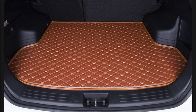 Auto Cargo Liner Trunk Mats For Ssangyong Rexton W II 2008-2017 Car Boot Mat High Quality Embroidery Leather mats Free shipping car rear trunk security shield cargo cover for ssangyong rexton ii w 2008 2017 high qualit black beige auto accessories
