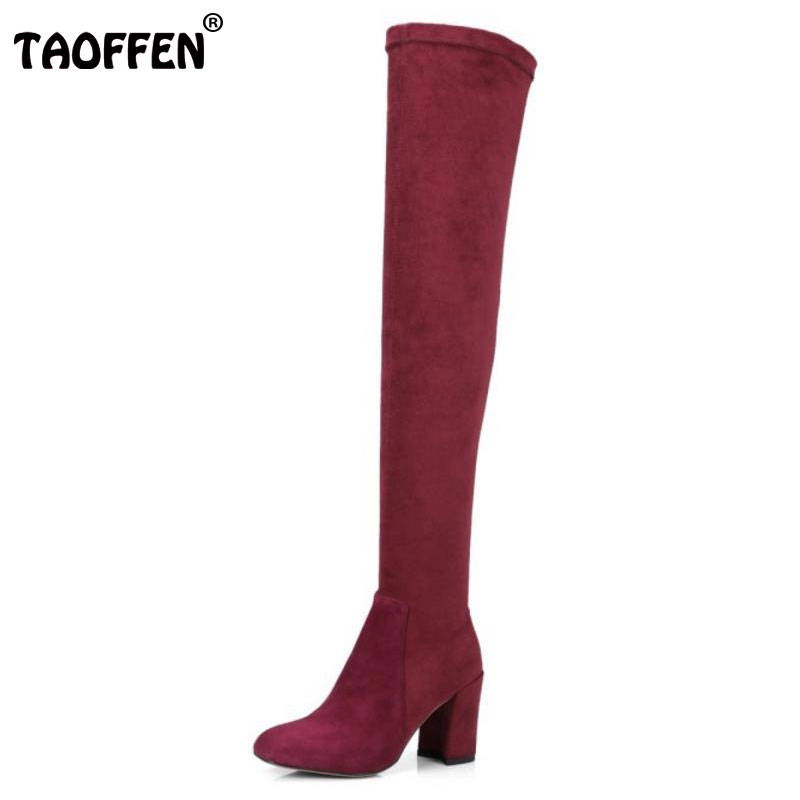 TAOFFEN Winter Elastic Shoes Women Real Leather Thick High Heel Over Knee