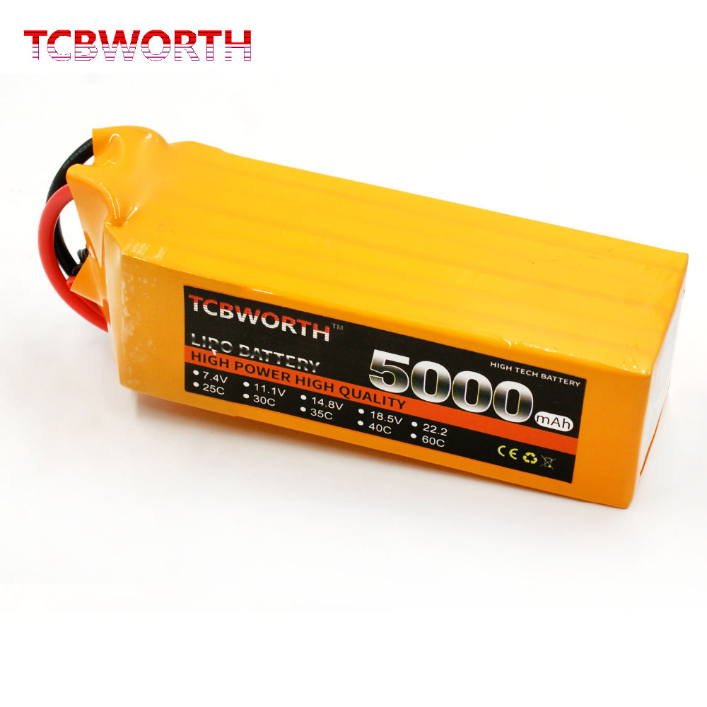 TCBWORTH 6S 22.2V 5000mAh 30C RC Airplane LiPo battery For RC Helicopter Quadrotor AKKU Drone Li-ion battery tcbworth rc drone lipo battery 3s 11 1 v 2200 mah 35c max 70c for rc airplane helicopter car li ion batteria akku