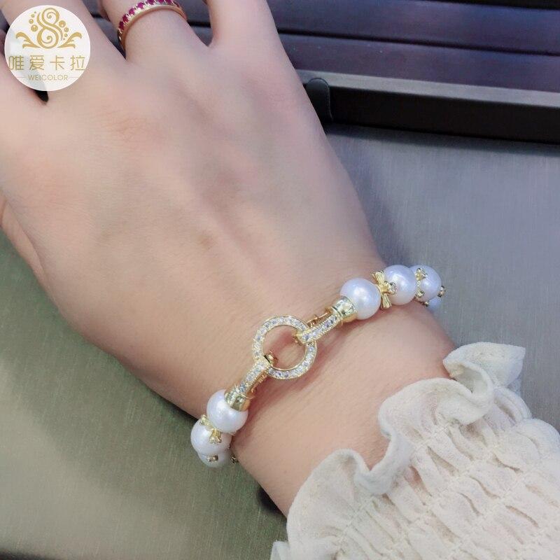 WEICOLOR Bracelet à la mode! Perle d'eau douce naturelle ronde blanche bonne qualité et couleur or clair articles brillants et fermoir - 3