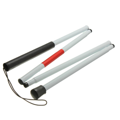 Caliente con discapacidad visual muleta caña ciegos bastón Andador de aluminio plegable fácil