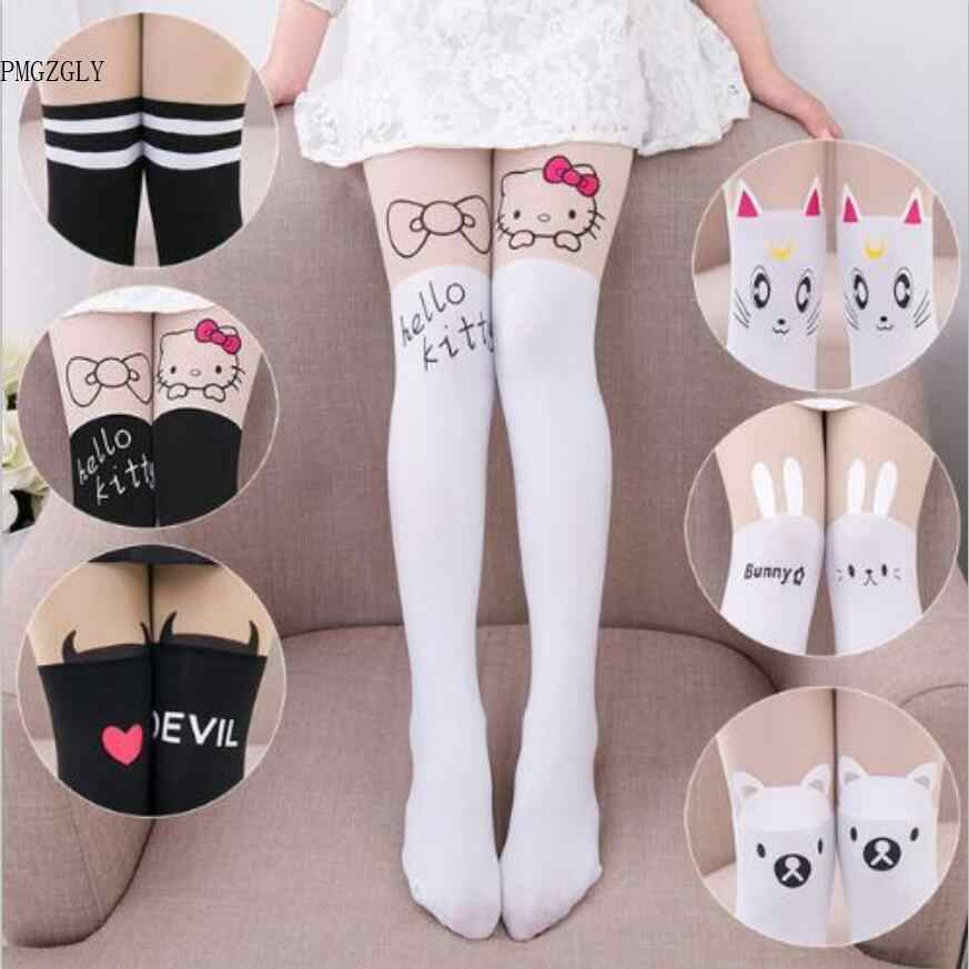 32376e6f273 Baby Cute Pantyhose Kids tights Knee Fake Velvet Stocking White Cartoon cat  Children's Princess Girl Tights