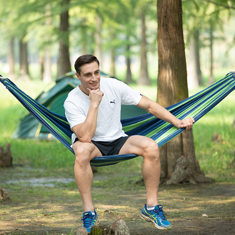 New Double Hammock Outdoor Travel Hammock Camping Furniture Garden Swing Chair Hunting Hanging Bed Dormitory Soft Bed PortableNew Double Hammock Outdoor Travel Hammock Camping Furniture Garden Swing Chair Hunting Hanging Bed Dormitory Soft Bed Portable
