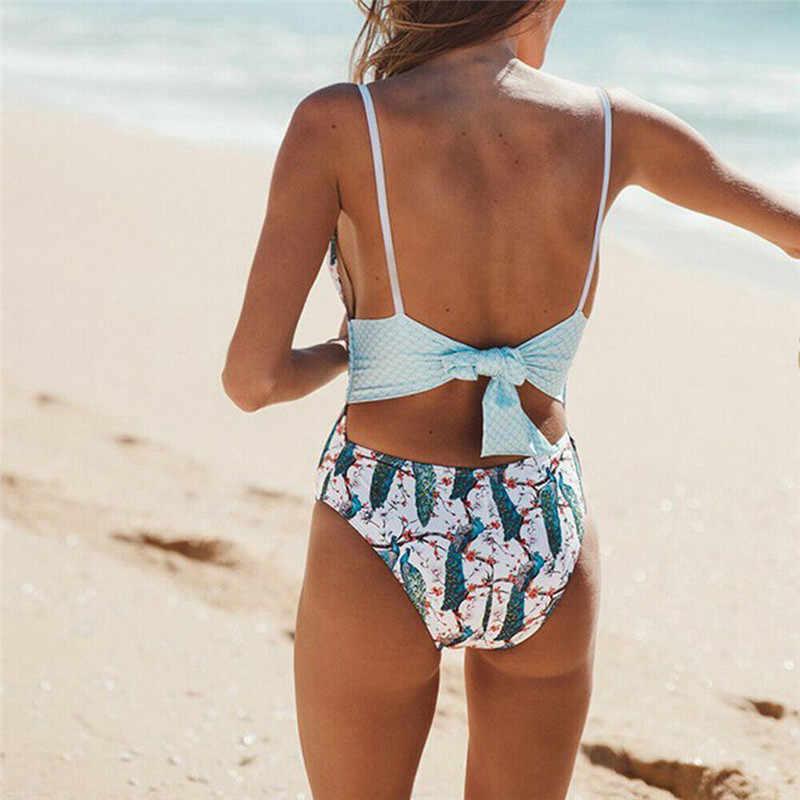 مثير قطعة واحدة ملابس السباحة 2019 النساء ملابس السباحة Monokini ارتداءها ضمادة عالية الخصر ملابس السباحة الإناث لباس سباحة الأزهار الشاطئ ارتداء