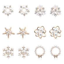 MENGJIQIAO 2019 Mode Neue Stil Simulierte Perle Blume Stud Ohrringe Für Frauen Süße Bijoux Nette Herz Starfish Ohrringe Geschenk