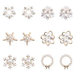 MENGJIQIAO 2019 Fashion New Style Simulated Pearl Flower Stud Earrings For Women Sweet Bijoux Cute Heart Starfish Oorbellen Gift